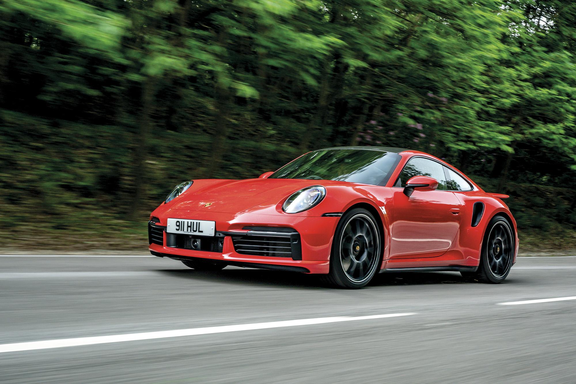 2020 Porsche 911 Turbo S on the road