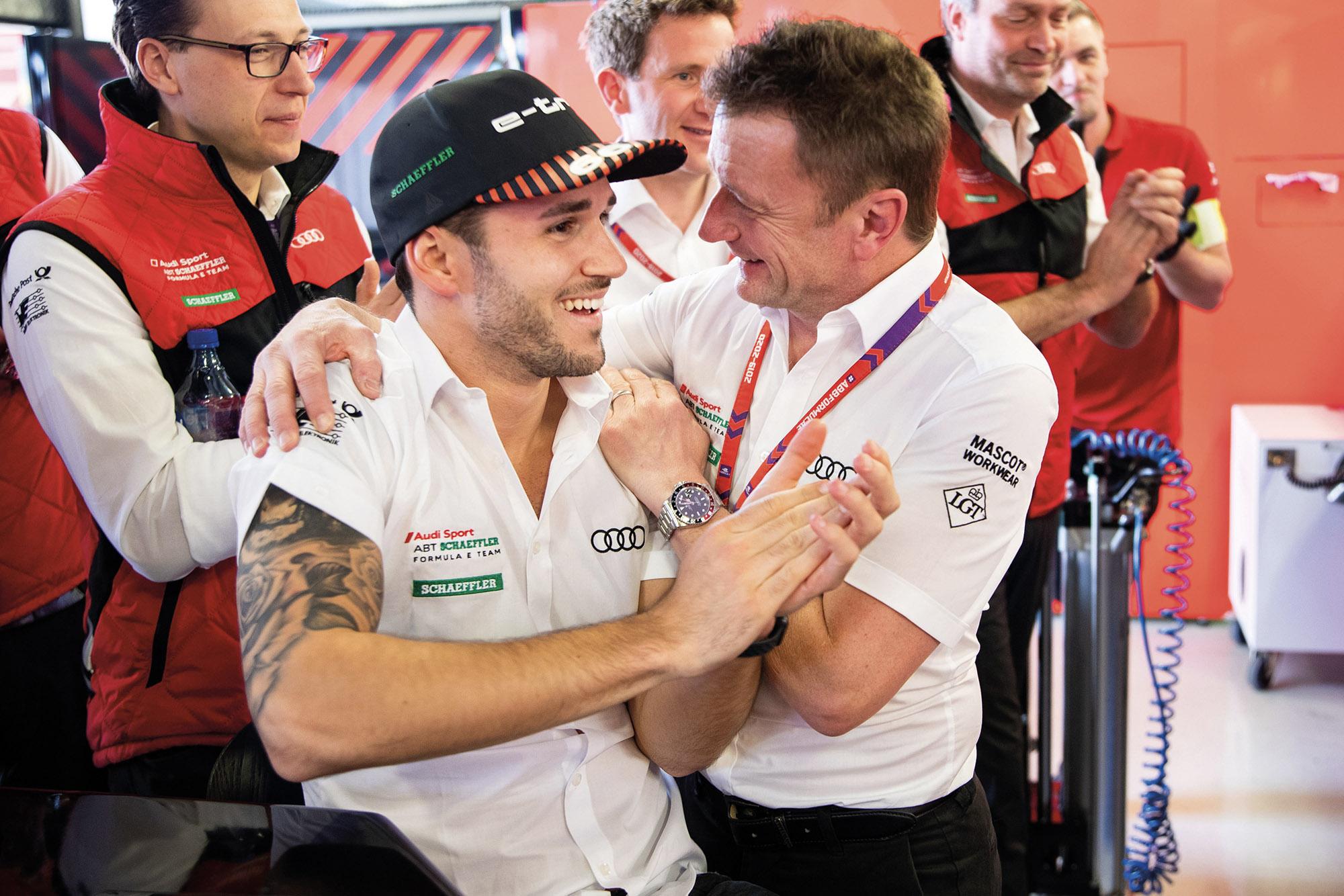 Allan McNish with Daniel Abt at the 2020 Formula E Mexico race