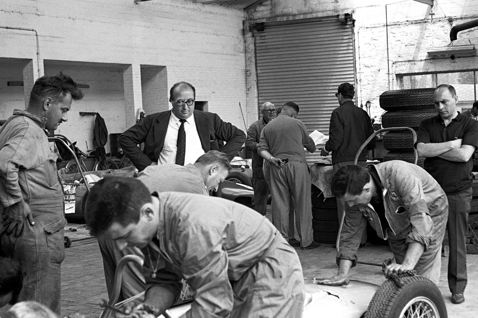 Carlo Chiti overseeing work to Ferrari 156s in the 1961 Belgian Grand Prix at Spa