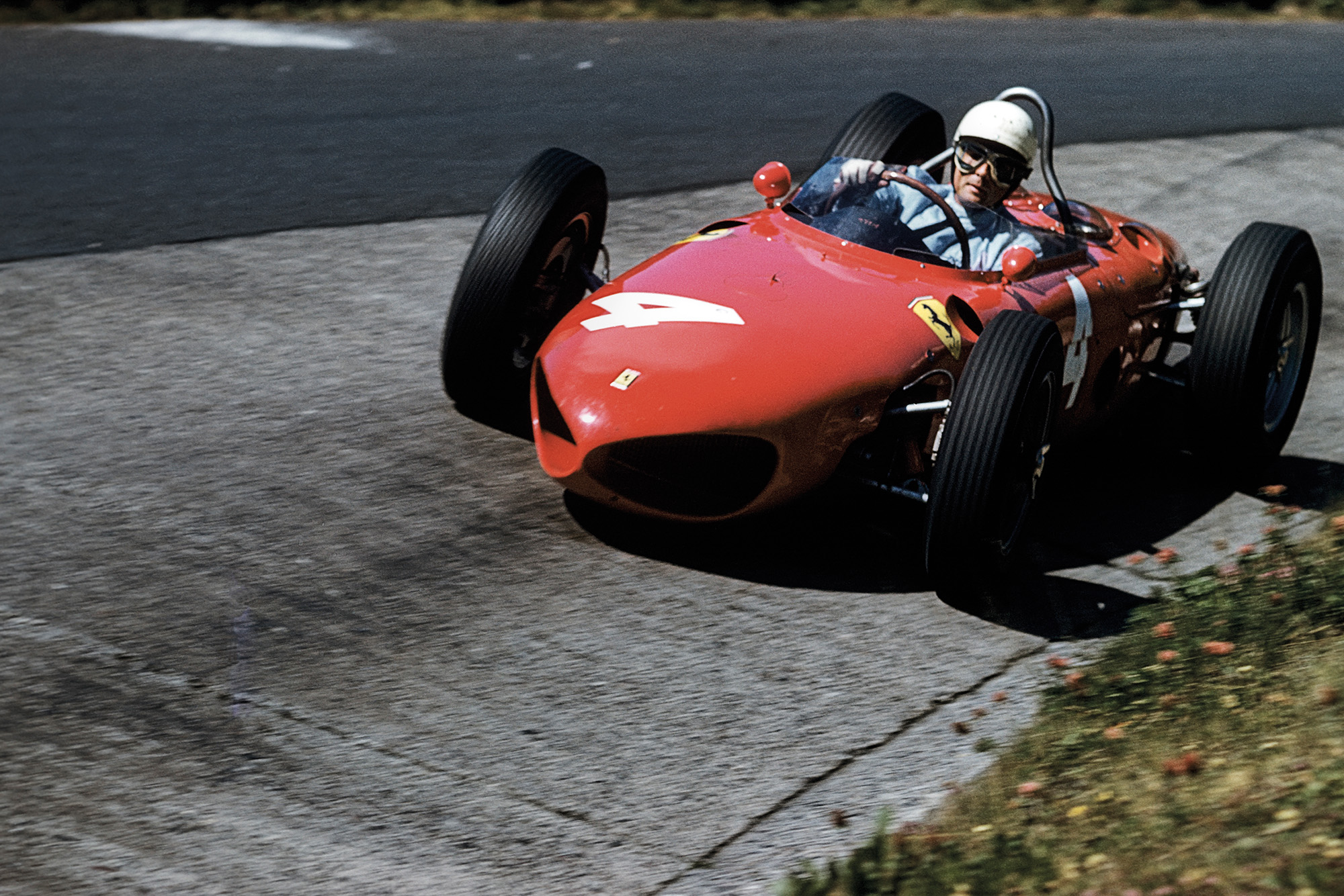 Phil Hill in the Ferrari 156 at the Karussell on the Nurburgring in 1961