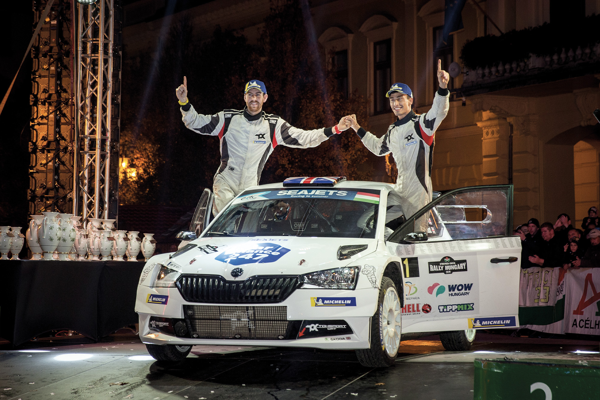 Chris Ingram and co-driver Ross Whittock celebrate winning the 2019 ERC championship in Hungary