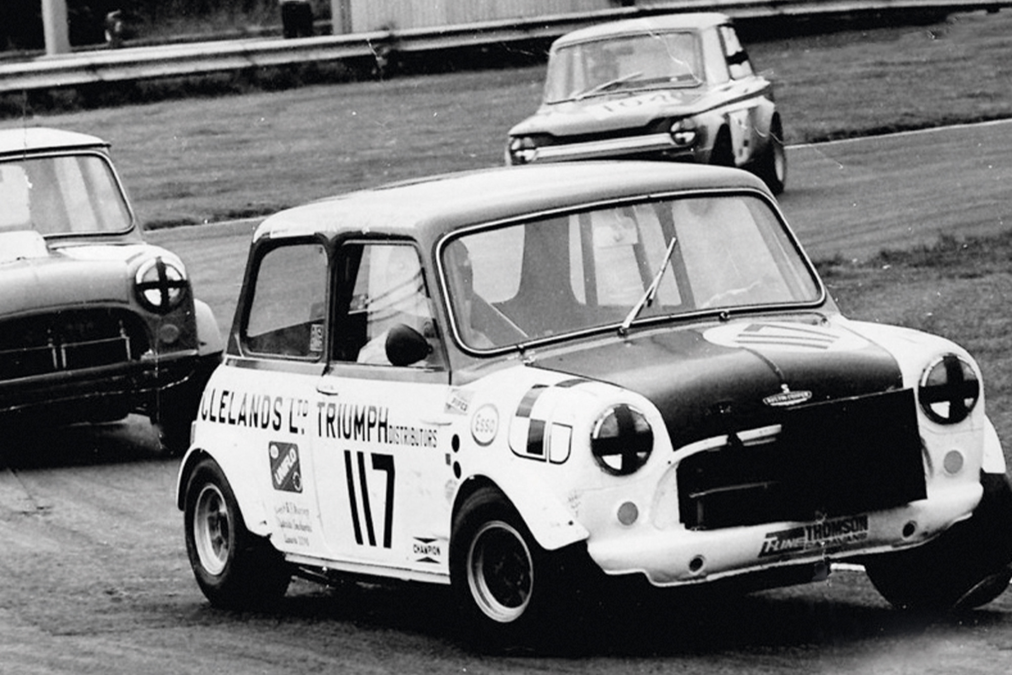John Cleland makes his racing debut in a Mini at Ingliston in 1972
