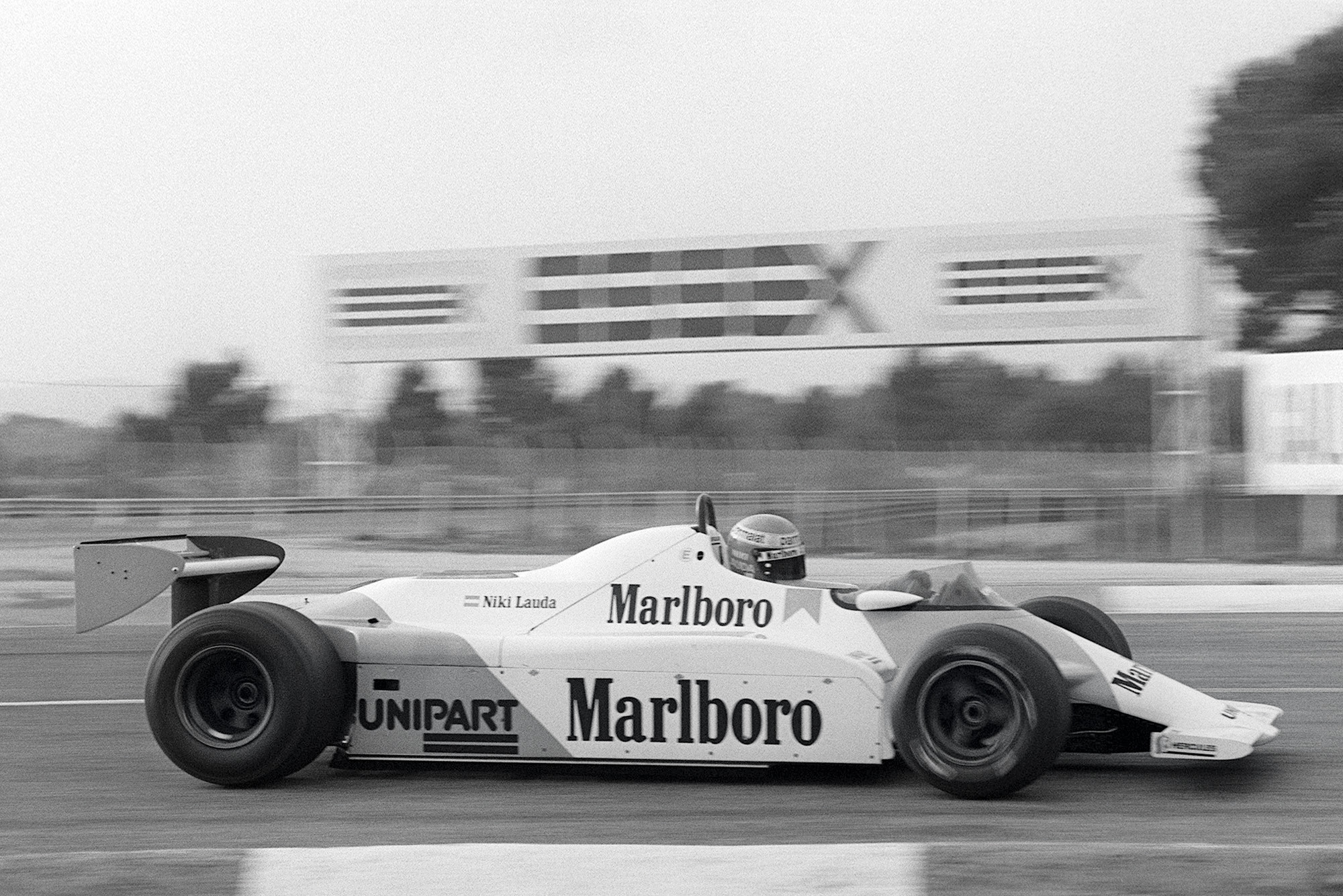 Niki Lauda practices at the wheel of his McLaren on the Le Castellet racing circuit 20 November 1981