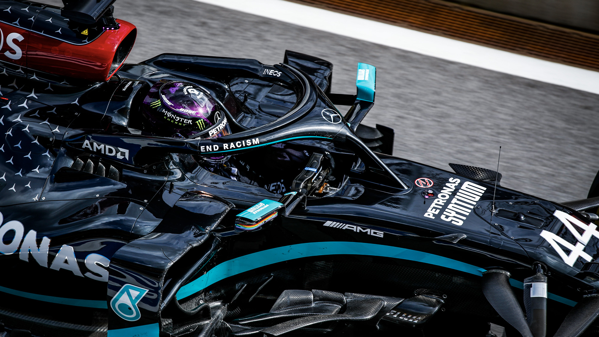 Lewis Hamilton in the cockpit of his Mercedes W11 during practice ahead of the 2020 Austrian Grand Prix