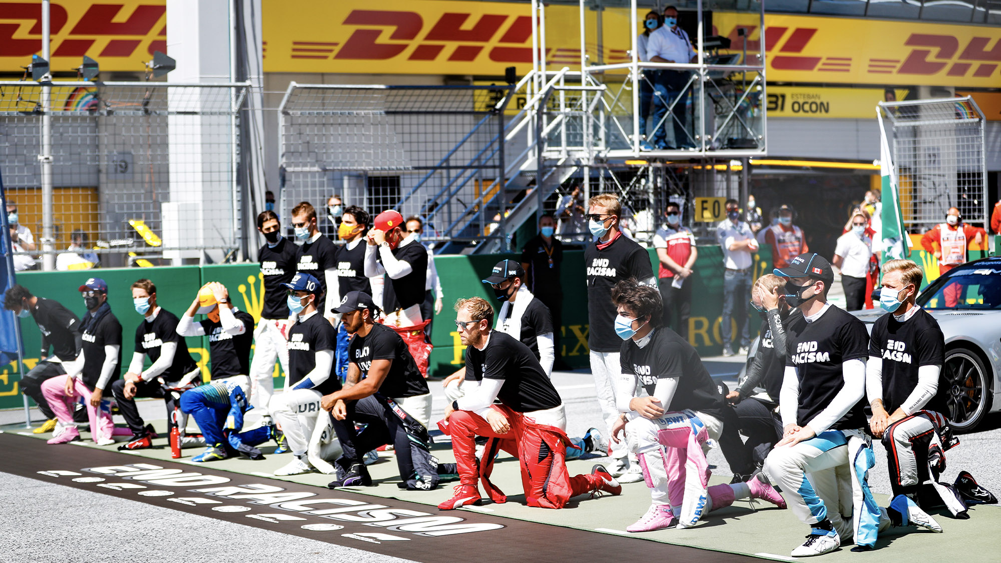 Drivers unite in making a statement against racism ahead of the 2020 Austrian Grand Prix