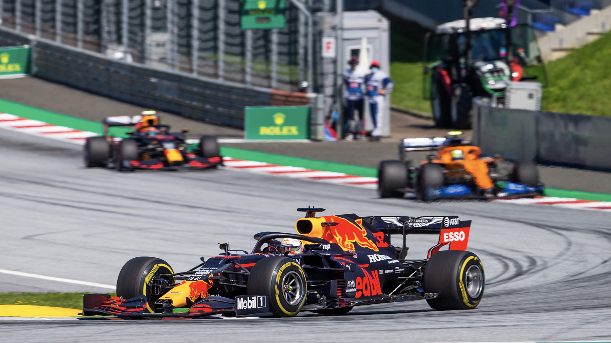 Max Verstappen ahead of Lando Norris and Alex Albon in the early laps of the 2020 Austrian Grand Prix