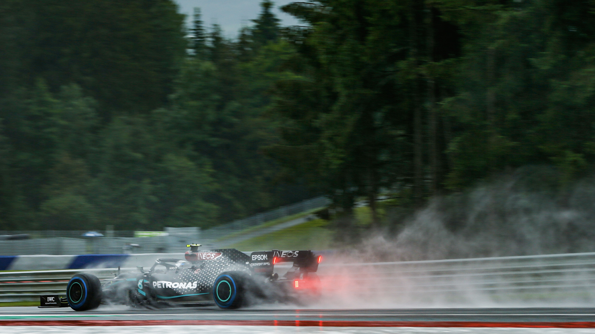 Valtteri Bottas trails water spray during qualifying for the 2020 F1 Styrian Grand Prix at the Red Bull Ring
