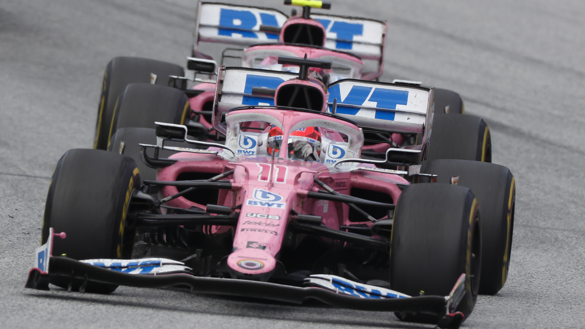 Sergio Perez and Lance Stroll during the 2020 F1 Styrian Grand Prix
