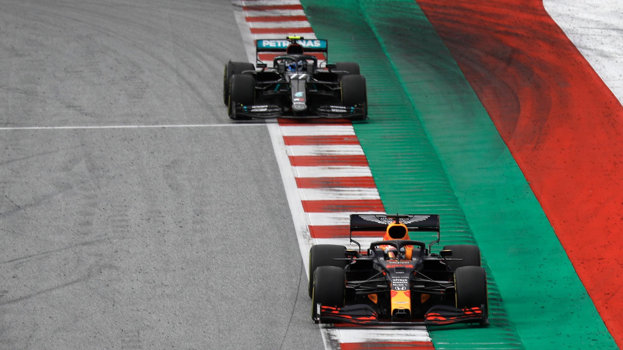 Valtteri Bottas follows Max Verstappen in the 2020 f1 Styrian Grand Prix