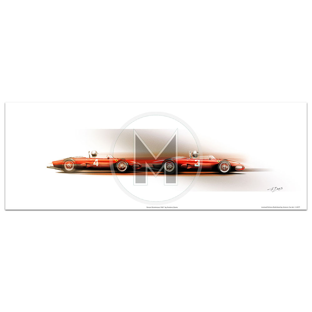 Product image for Ferrari Sharknoses | Hill & Von Trips | Frederic Dams | Art Print