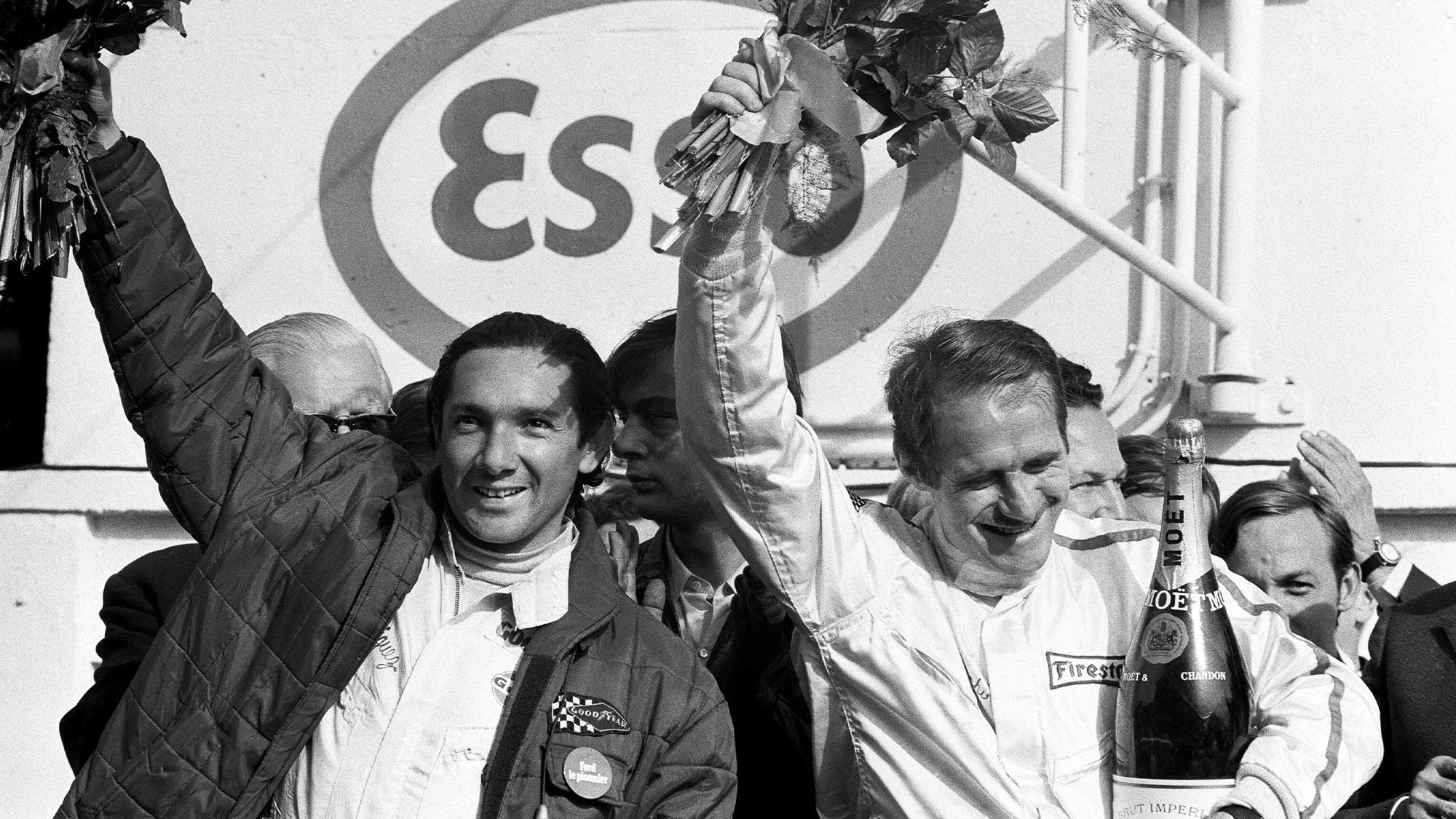 Pedro Rodriguez and Lucien Bianchi after their 1968 Le Mans 24 Hours victory