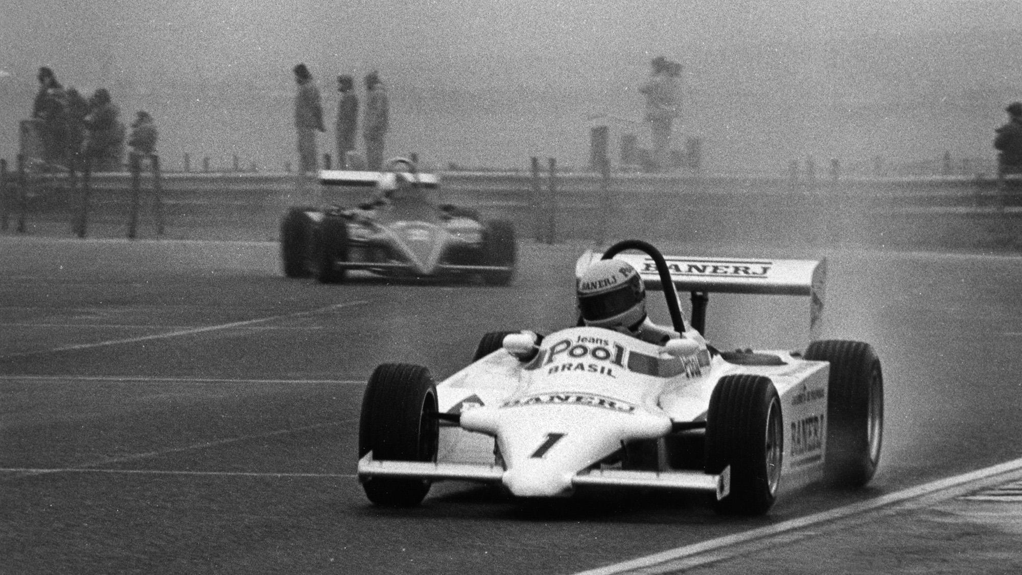 Ayrton Senna in a Ralt RT3 in a Formula 3 race at Thruxton in 1983