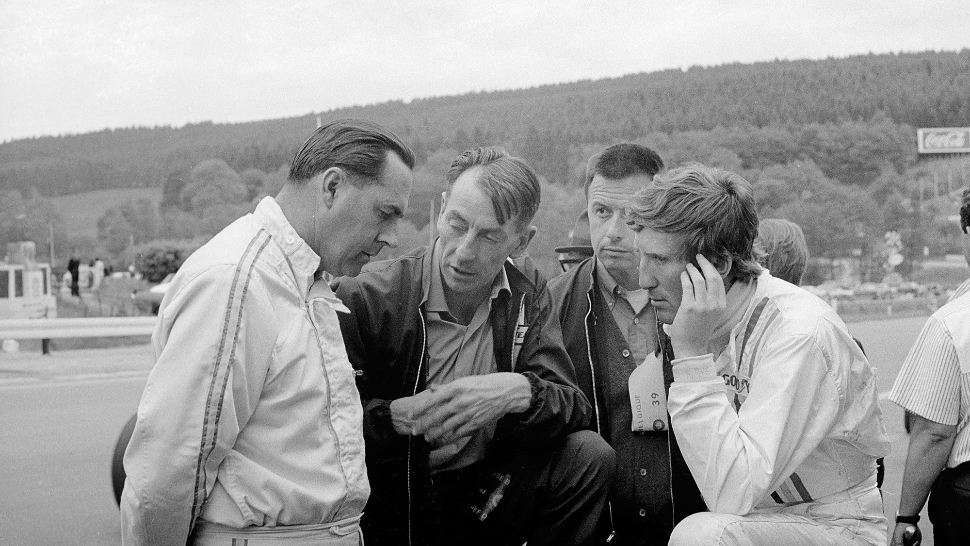 Jack Brabham with Ron Tauranac Leo Mehl and Jochen Rindt at the 1968 Belgian Grand Prix