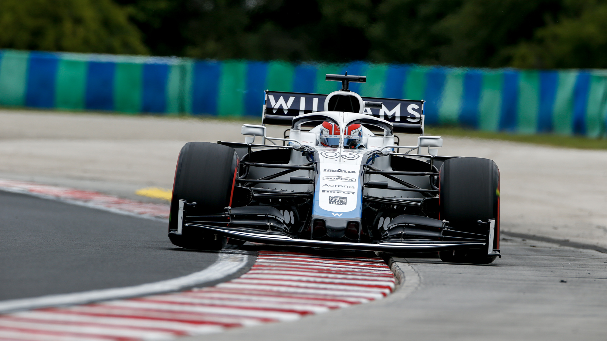 George Russell's Williams rides the kerb during qualifying for the 2020 F1 Hungarian Grand Prix