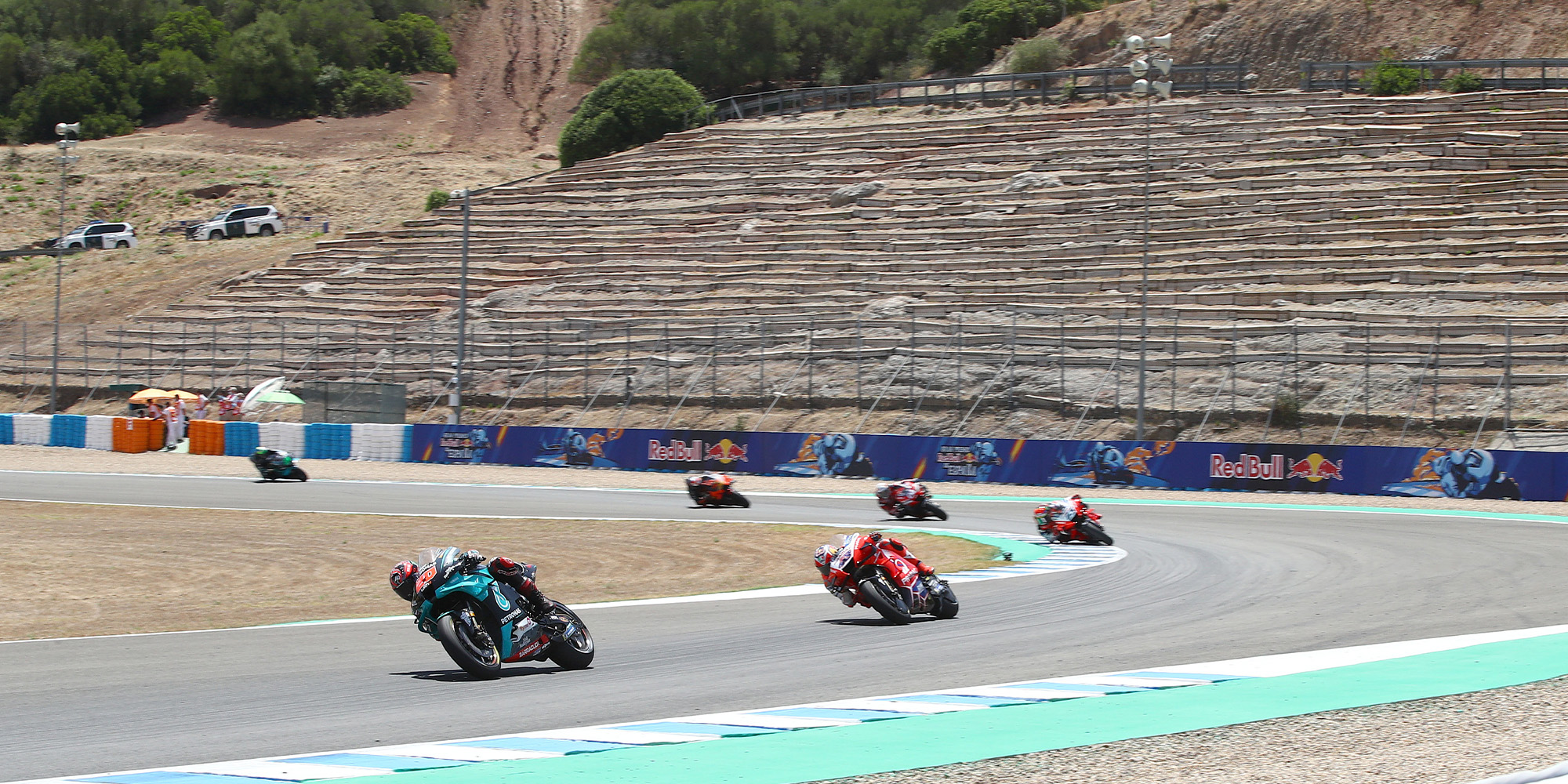 Maverick Vinales leads in the early stages of the 2020 MotoGP Spanish Grand Prix at Jerez