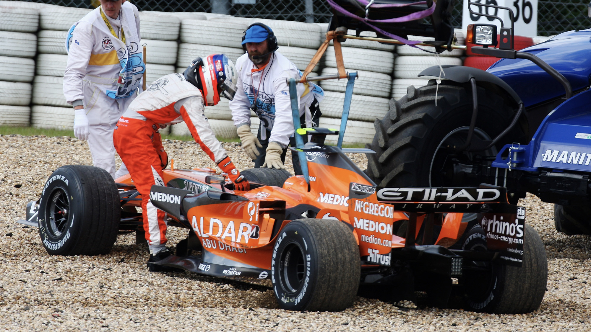 Markus Winkelhock's car in the gravel after retiring from the 2007 European F1 Grand Prix at the Nurburgring