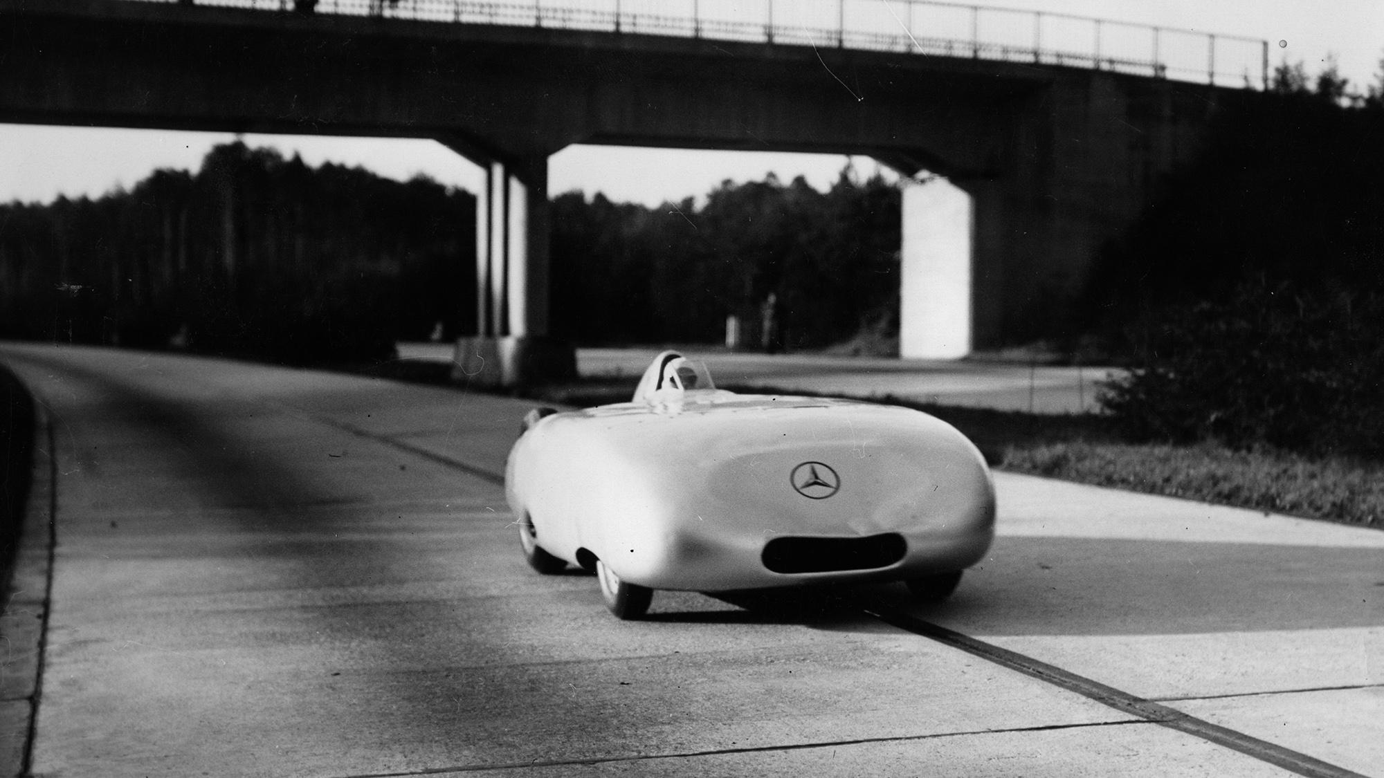 Rudolf Caracciola in a record-breaking run on the Autobahn in his MErcedes in 1936