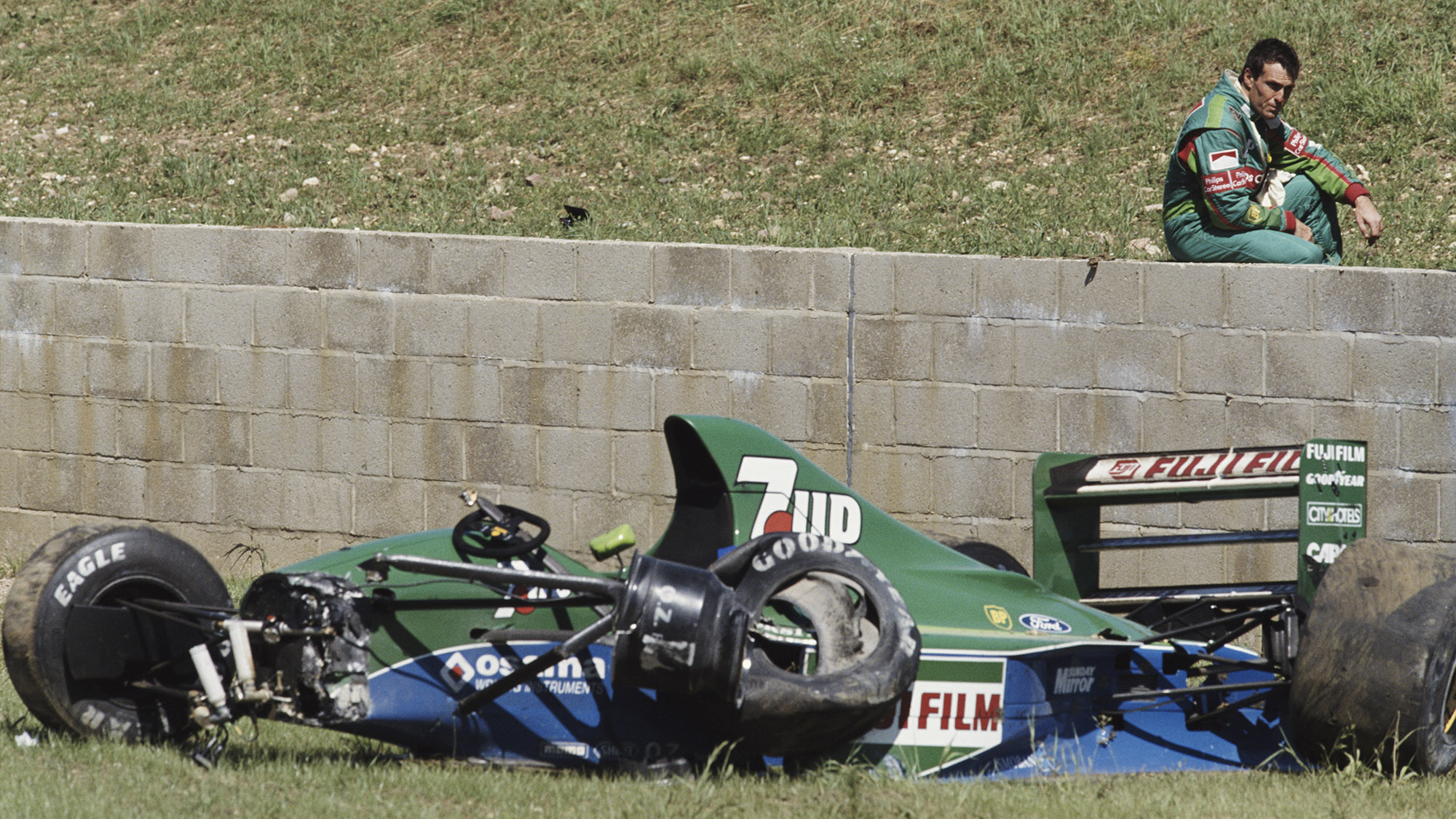 Andrea de Cesaris after crashing out of the 1991 F1 British Grand Prix