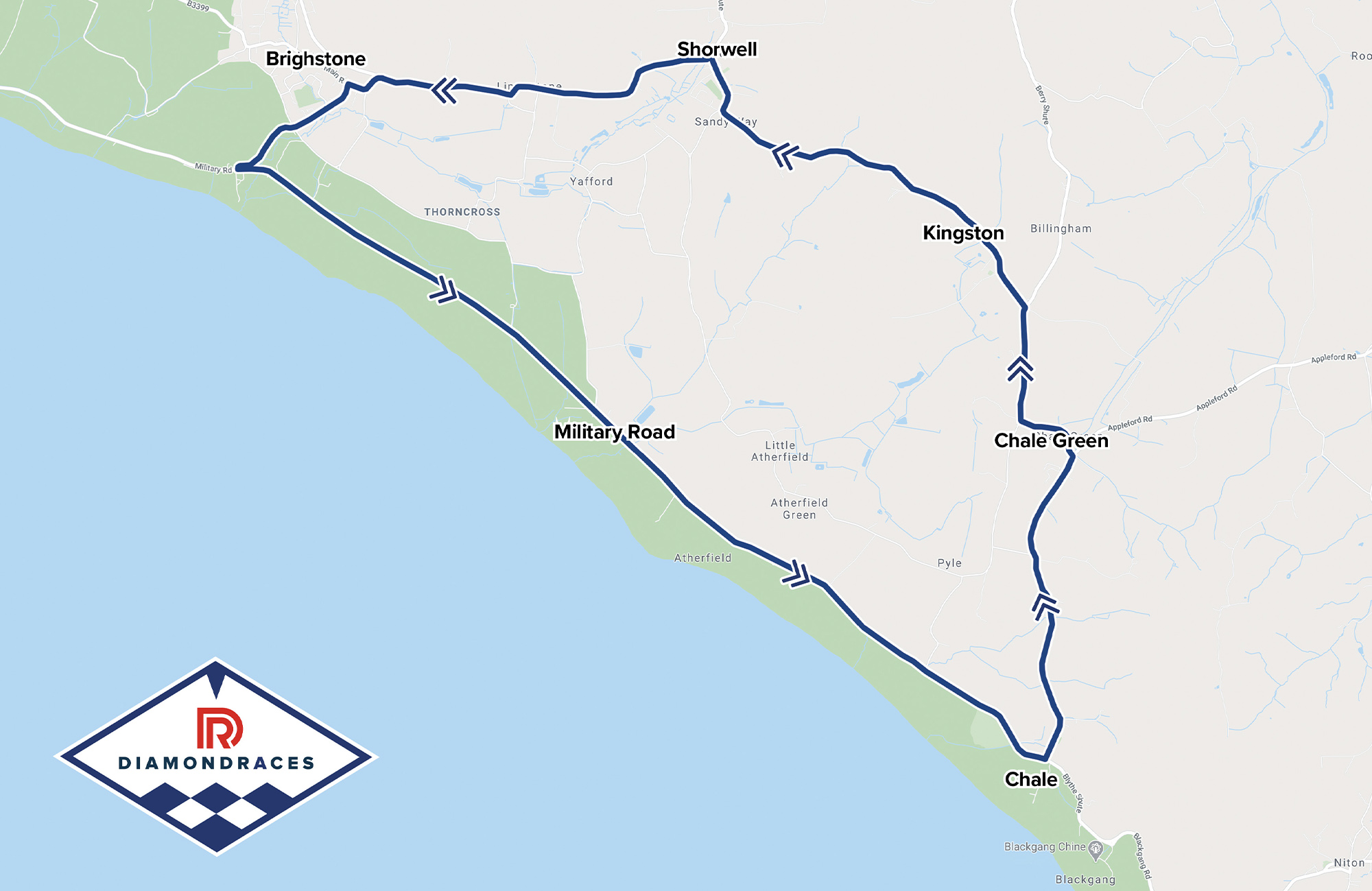 Isle of Wight Diamond race circuit map