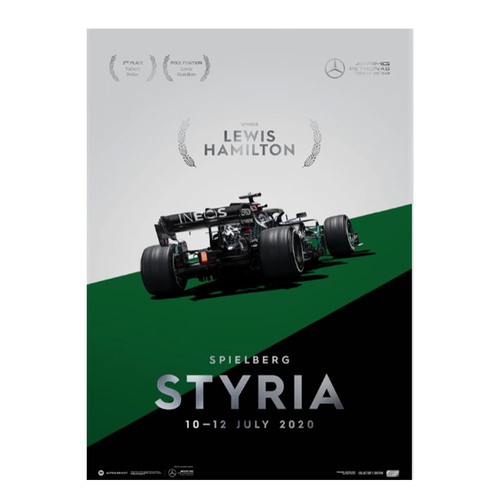 Product image for Winners' Series | Lewis Hamilton - Mercedes W11 - Styria 2020 | Automobilist | Collector's Edition poster