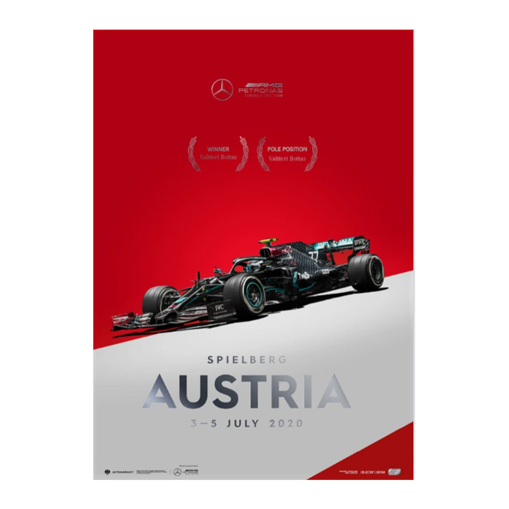 Product image for Winners' Series | Valtteri Bottas - Mercedes W11 - Austria 2020 | Automobilist | Collector's Edition poster