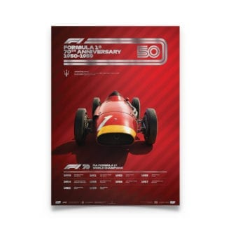 Product image for Formula 1® Decades | Juan Manuel Fangio – Maserati 250F – 1950s | Collector's Edition poster