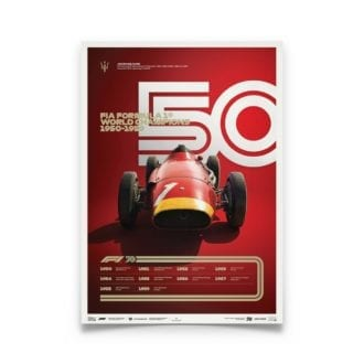 Product image for Formula 1® Decades | Juan Manuel Fangio – Maserati 250F – 1950s | Limited Edition poster