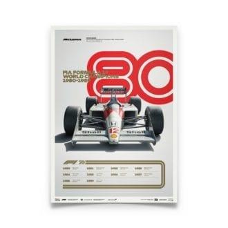 Product image for Formula 1® Decades | Ayrton Senna – McLaren MP4/4 – 1980s | Automobilist | Limited Edition poster