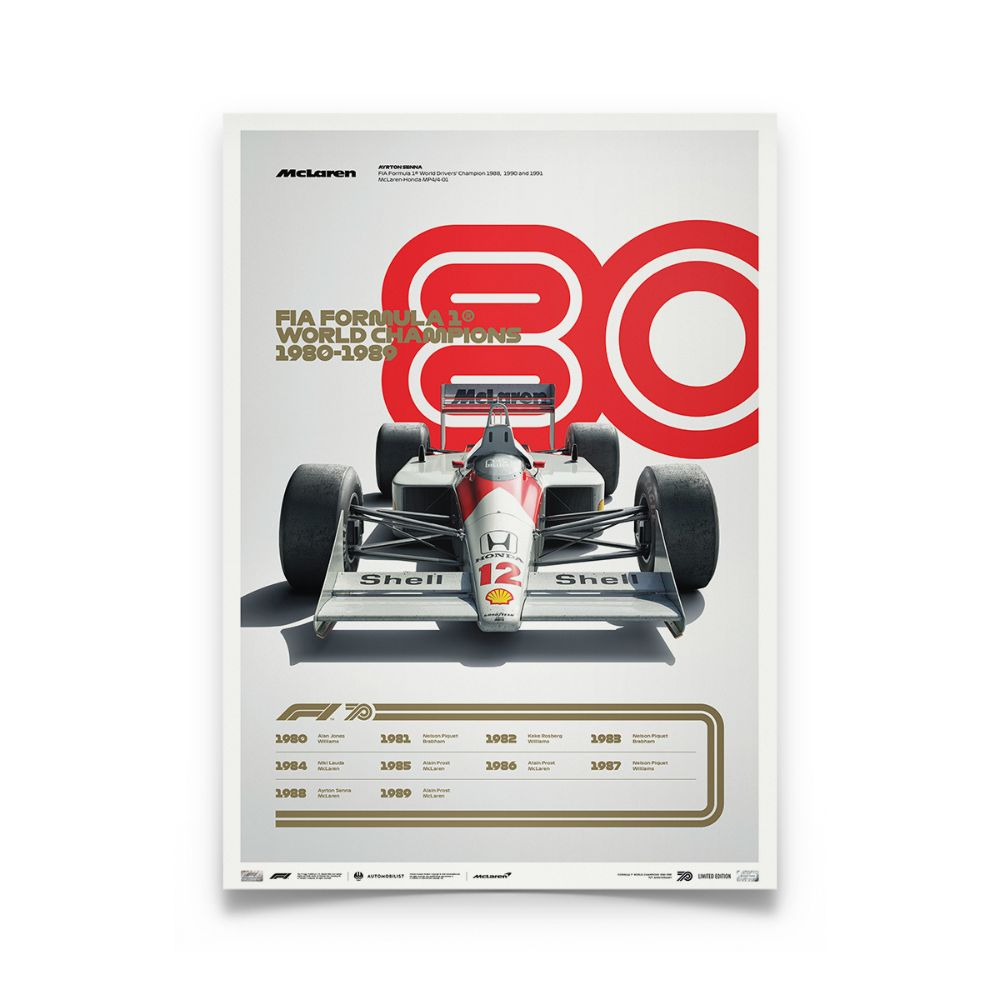 Product image for Formula 1® Decades | Ayrton Senna – McLaren MP4/4 – 1980s | Automobilist | Collector's Edition poster