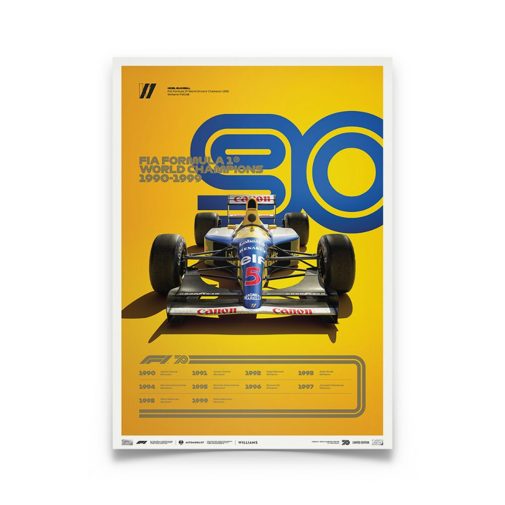 Product image for Formula 1® Decades | Nigel Mansell – Williams FW14B – 1990s | Automobilist | Collector's Edition poster