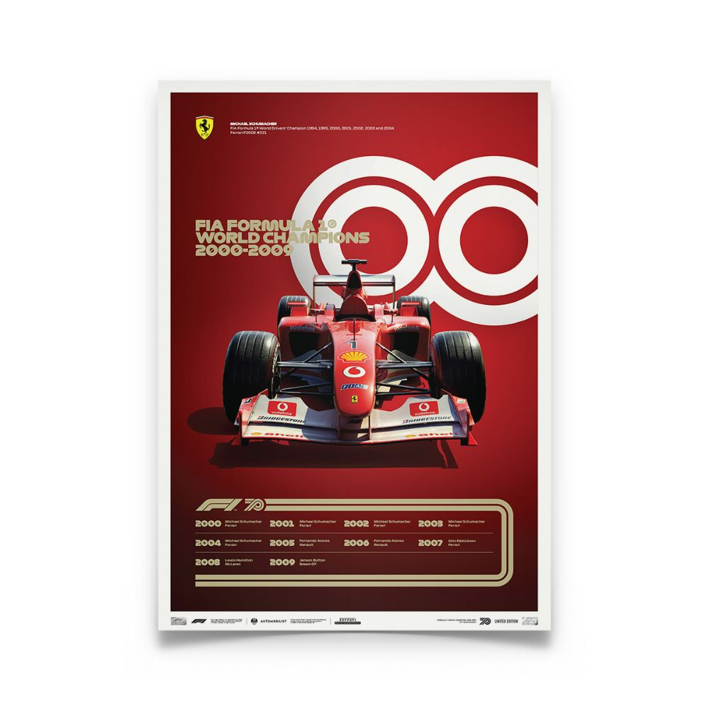 Product image for Formula 1® Decades | Michael Schumacher - Ferrari F2002 - 2000s | Automobilist | Collector's Edition poster