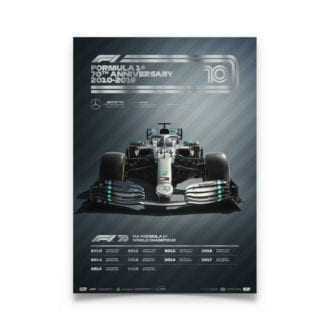 Product image for Formula 1® Decades | Lewis Hamilton – Mercedes W10 – 2010s | Collector's Edition poster