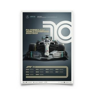 Product image for Formula 1® Decades | Lewis Hamilton - Mercedes W10 - 2010s | Limited Edition poster