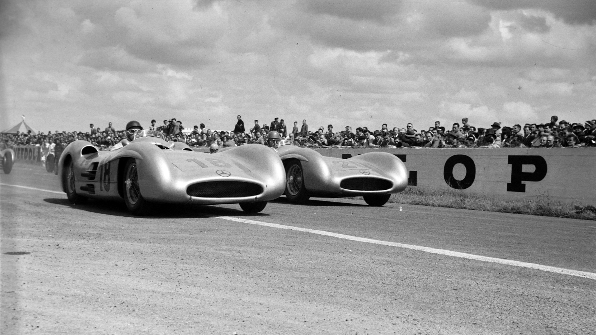 Juan Manuel Fangio, Mercedes W196, alongside Karl Kling, Mercedes W196 during the French GP at Reims-Gueux on July 04, 1954 in Reims-Gueux, France