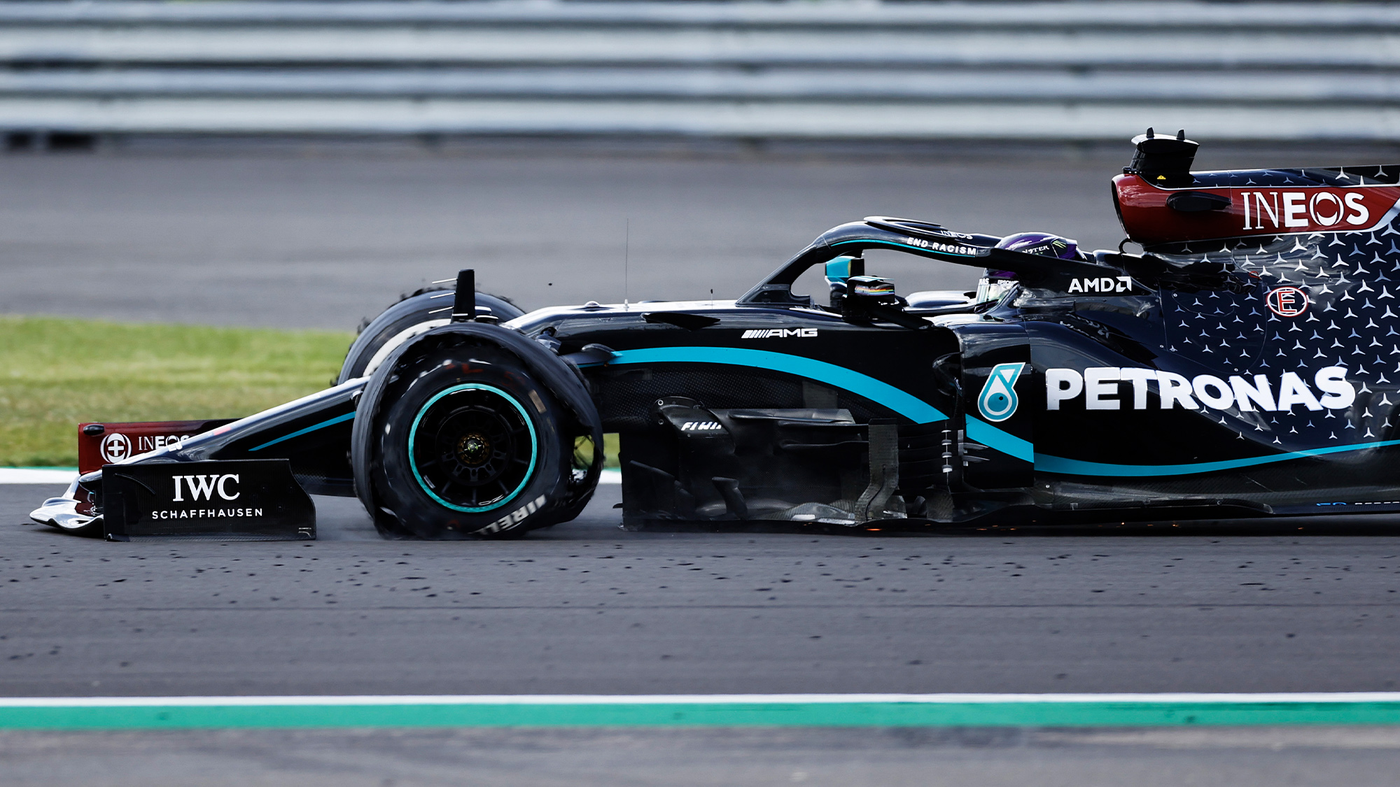 Lewis Hamilton's tyre fails on the final lap of the 2020 F1 British Grand Prix at Silverstone