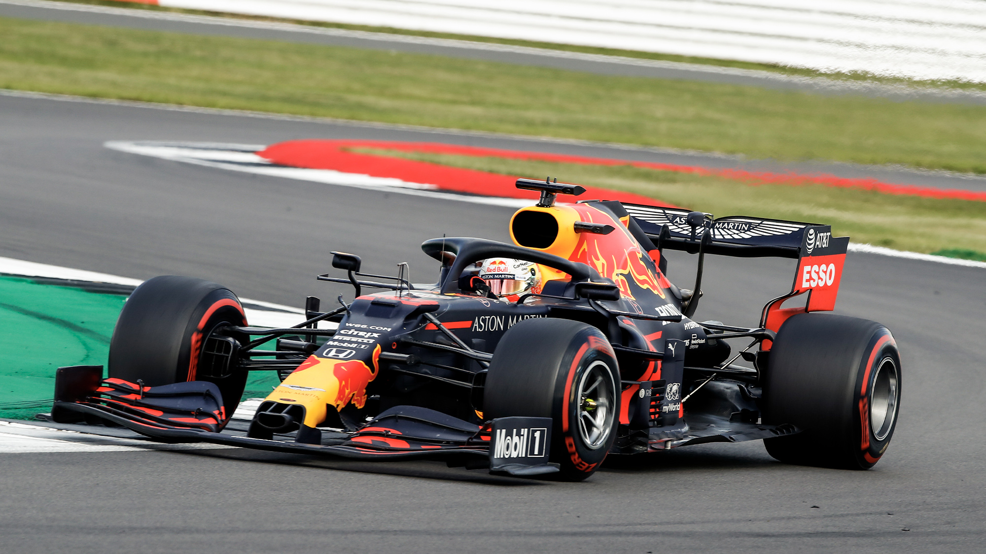 Max Verstappen's Red Bull on track at Silverstone during the 2020 F1 British Grand Prix