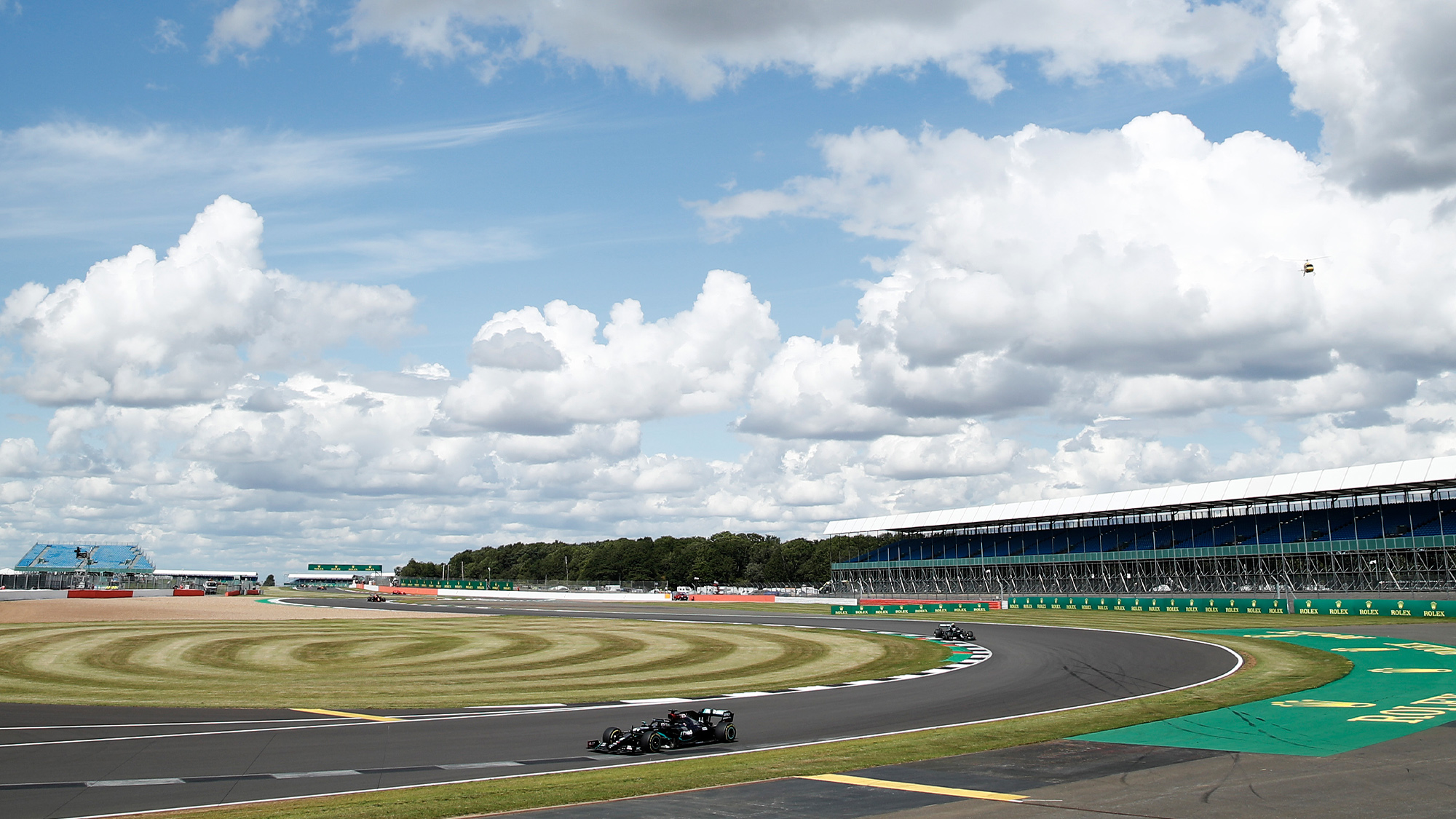 Lewis Hamilton drives through the Maggotts Becketts and Chapel complex at Silverstone during the 2020 F1 British Grand Prix