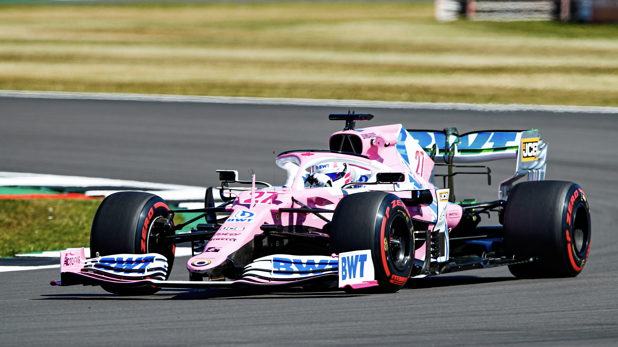 Nico Hulkenberg in his Racing Point duriong practice for the 2020 F1 70th Anniversary Grand Prix at Silverstone