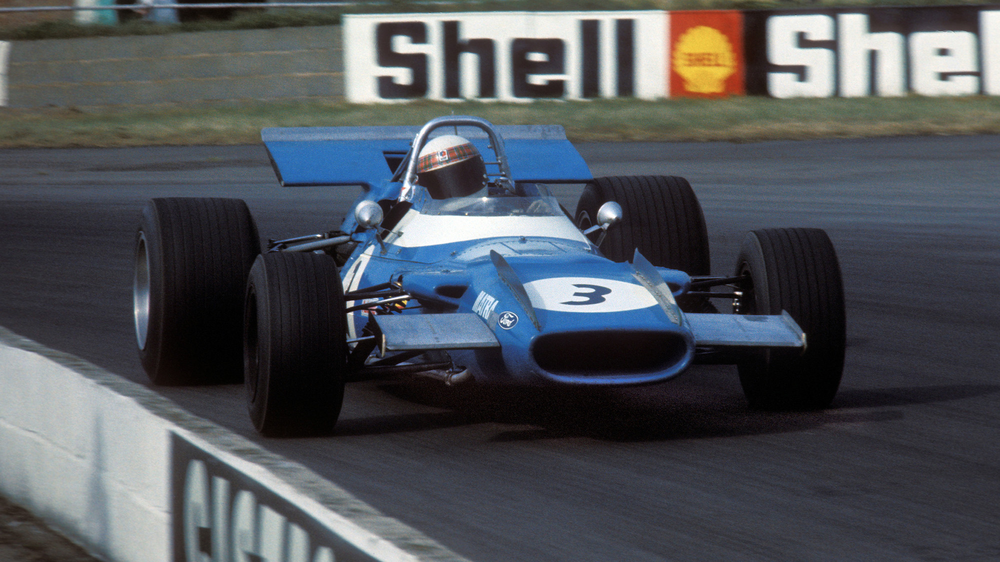 Jackie Stewart in his Tyrrell Matra Ford in the 1969 British Grand Prix at Silverstone