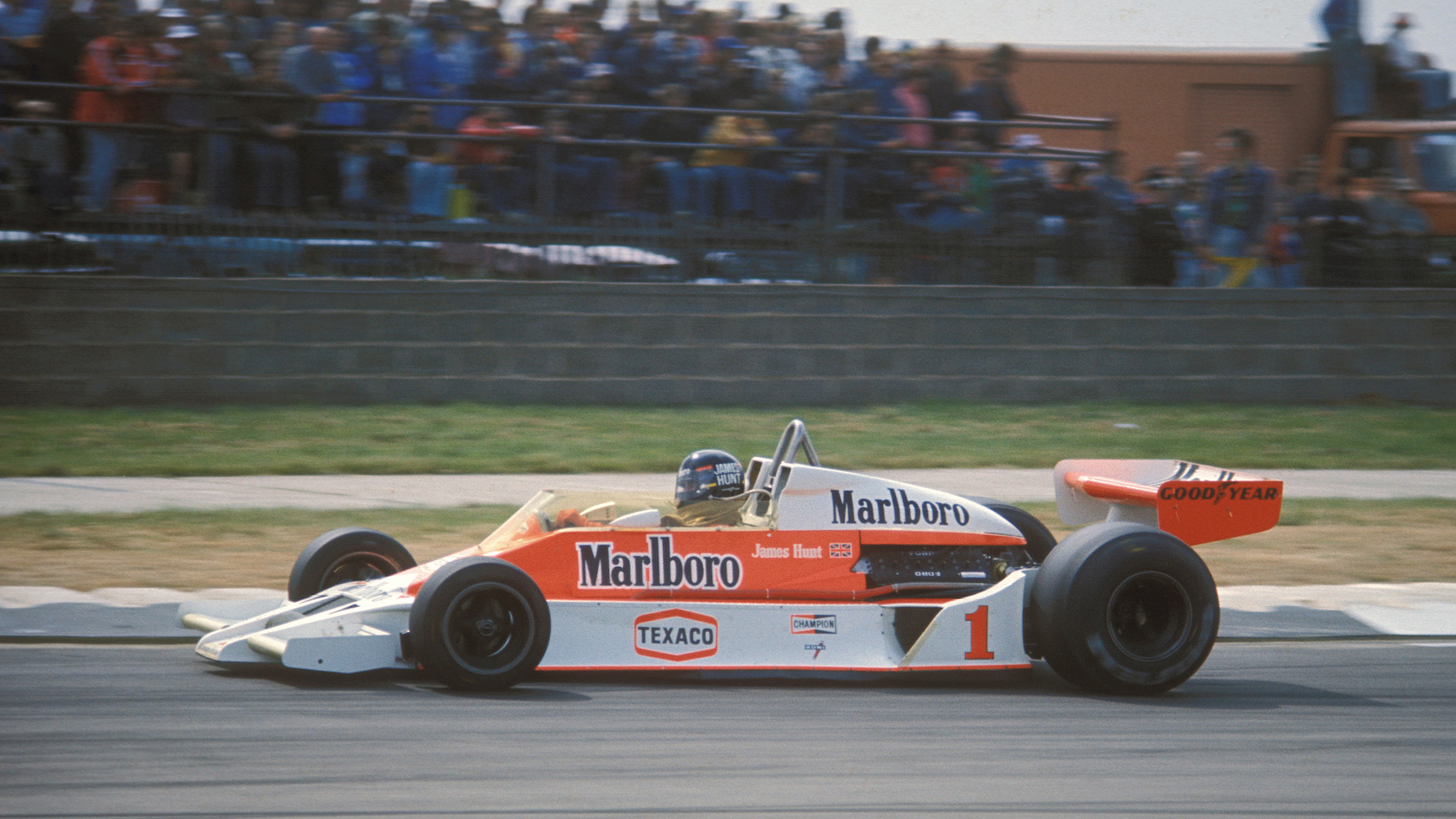 James Hunt's McLaren during the 1977 British Grand Prix at Silverstone