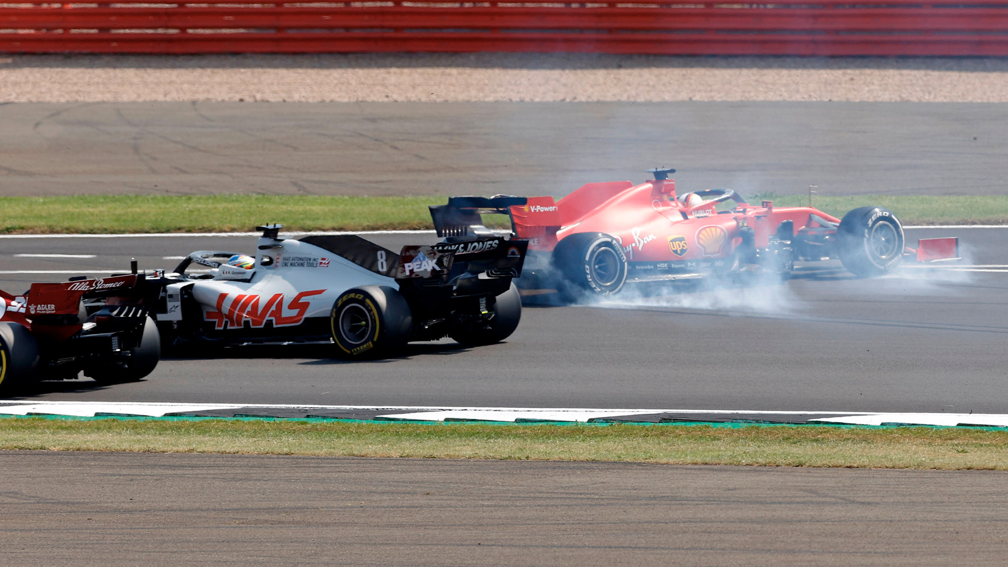 Sebastian Vettel spins at the start of the 2020 D1 70th Anniversary Grand Prix at Silverstone