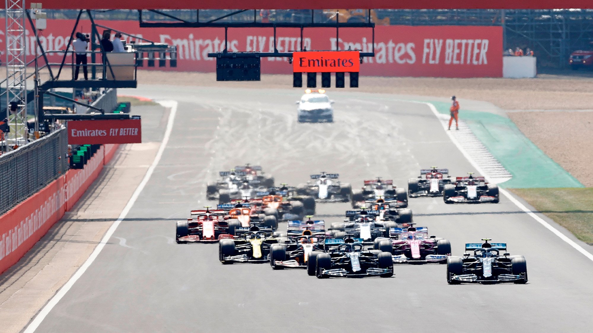 Start of the 2020 F1 70th anniversary Grand Prix at Silverstone