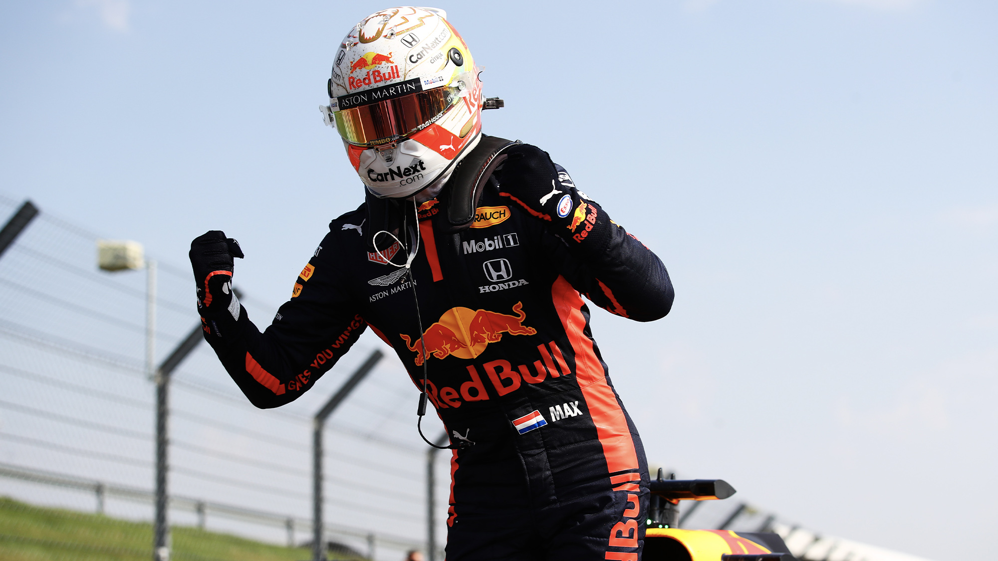 Max Verstappen celebrates after winning the 2020 f1 70th Anniversary Grand Prix for Red Bull at Silverstone