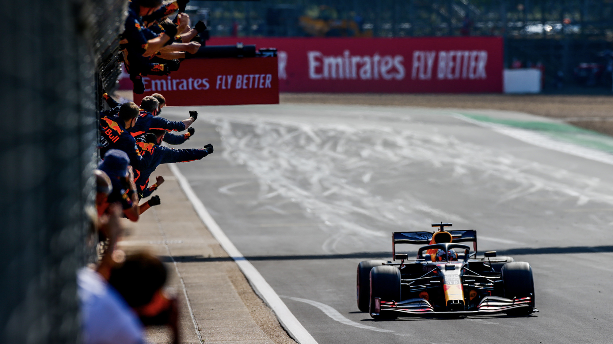Max Verstappen crosses the finish line to win the 2020 F1 70th Anniversary Grand Prix at Silverstone