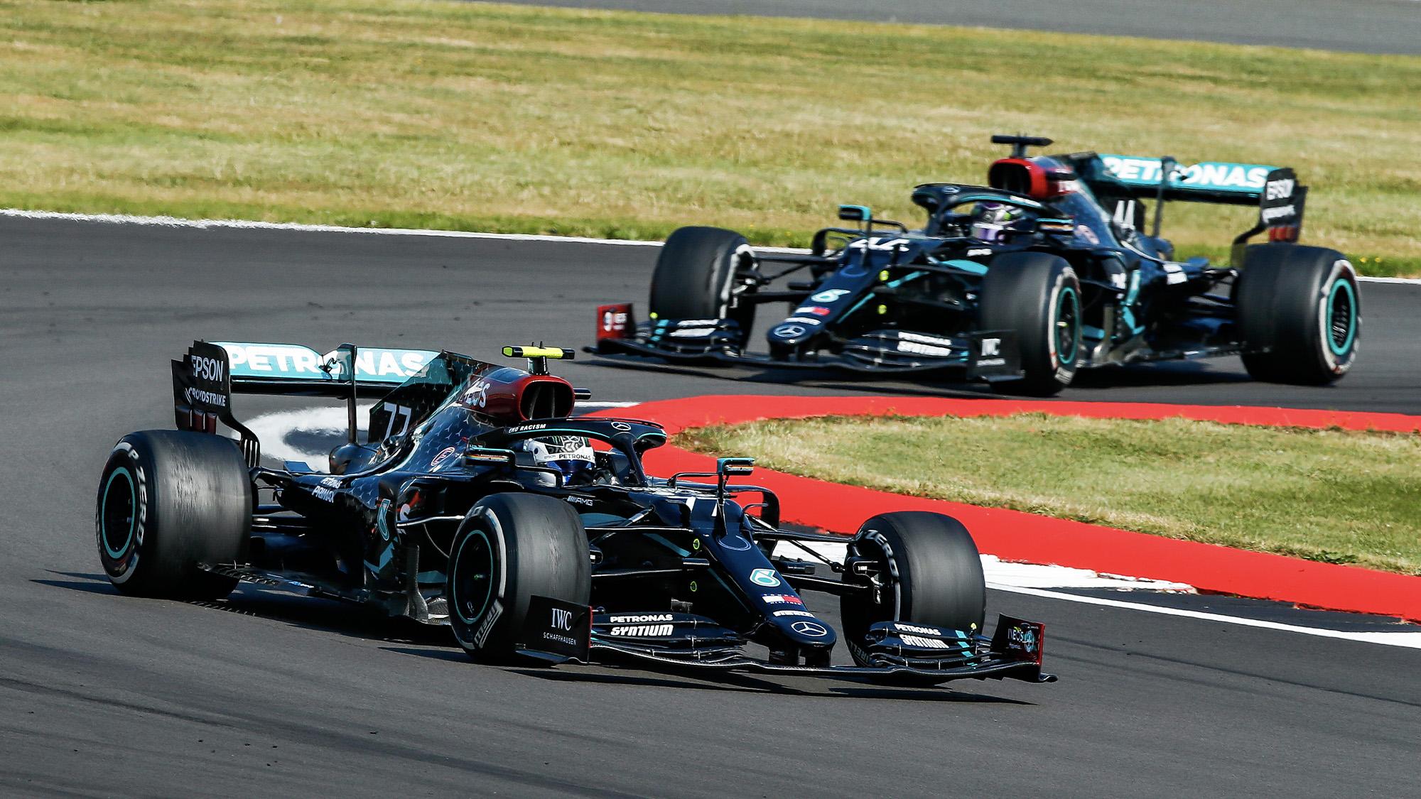 Lewis Hamilton catches Valtteri Bottas towards the end of the 2020 F1 70th Anniversary Grand Prix