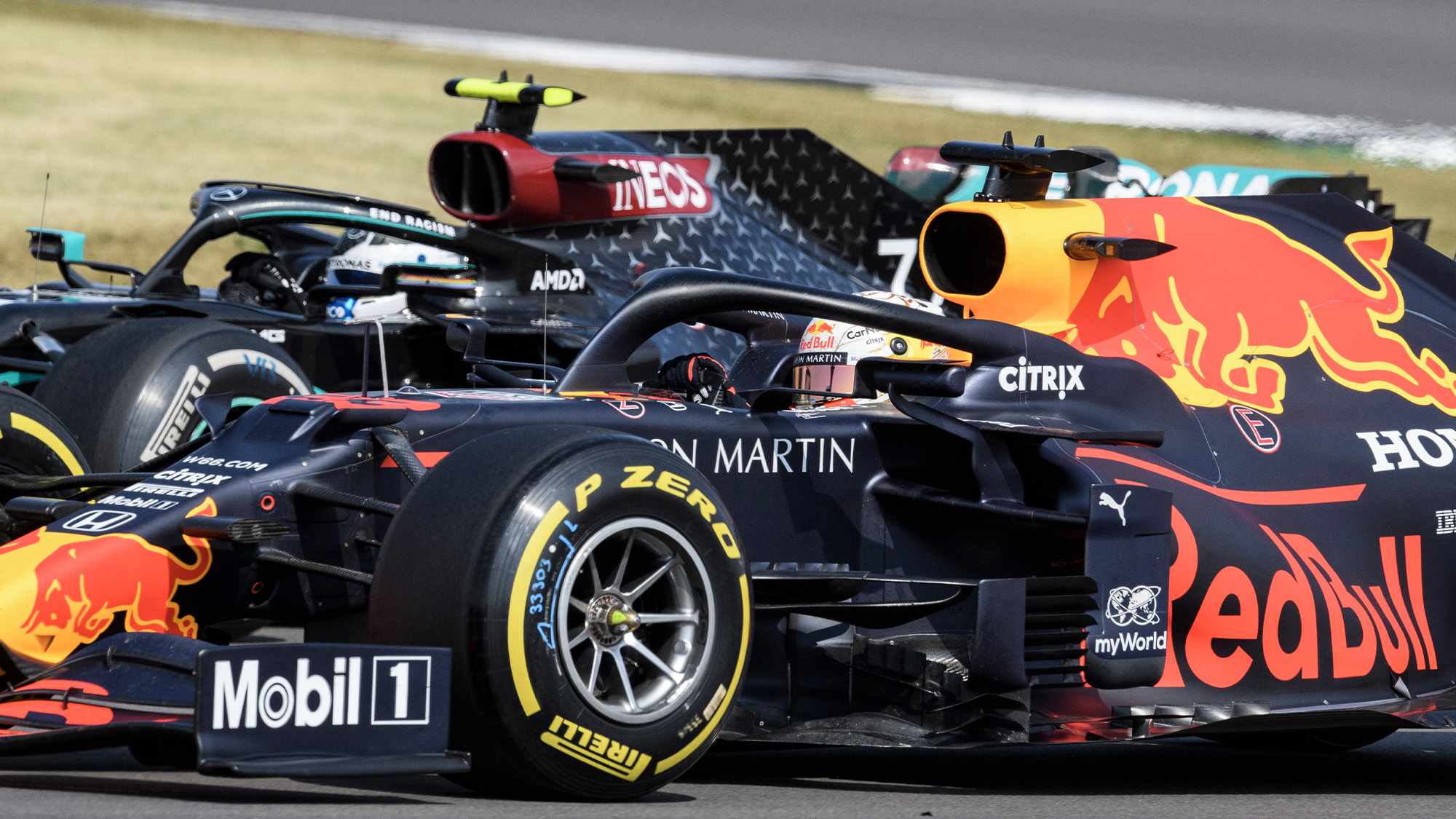 Max Verstappen passes Valtteri Bottas during the 2020 F1 70th Anniversary Grand Prix