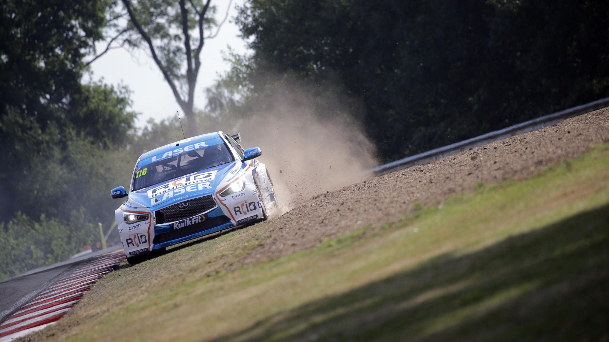 Ash Sutton runs off track at Brands Hatch GP in the 2020 BTCC meeting