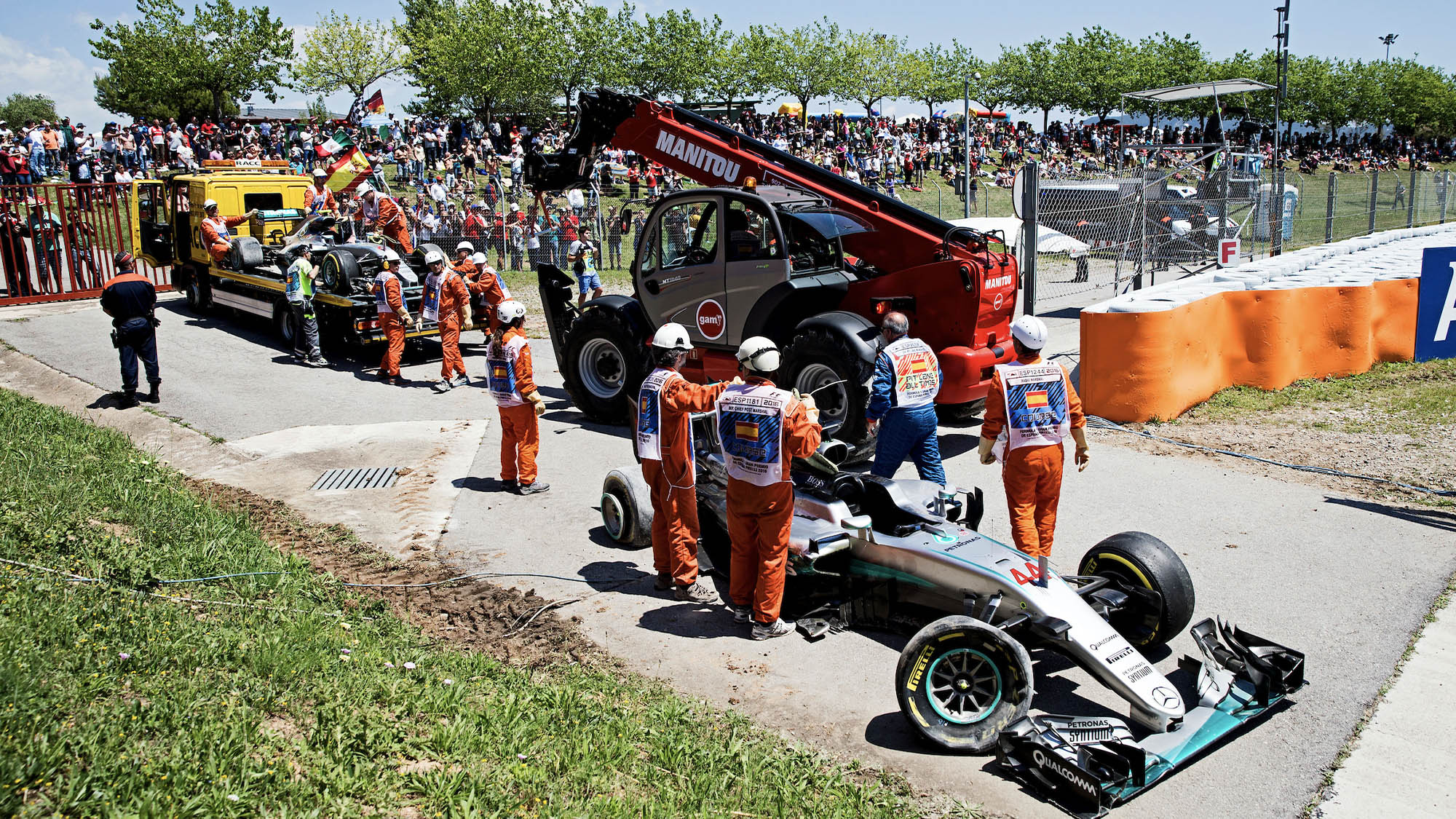 Nico Rosberg and Lewis Hamilton's wrecked Mercedes after the team-mates collided in the 2016 Spanish Grand Prix