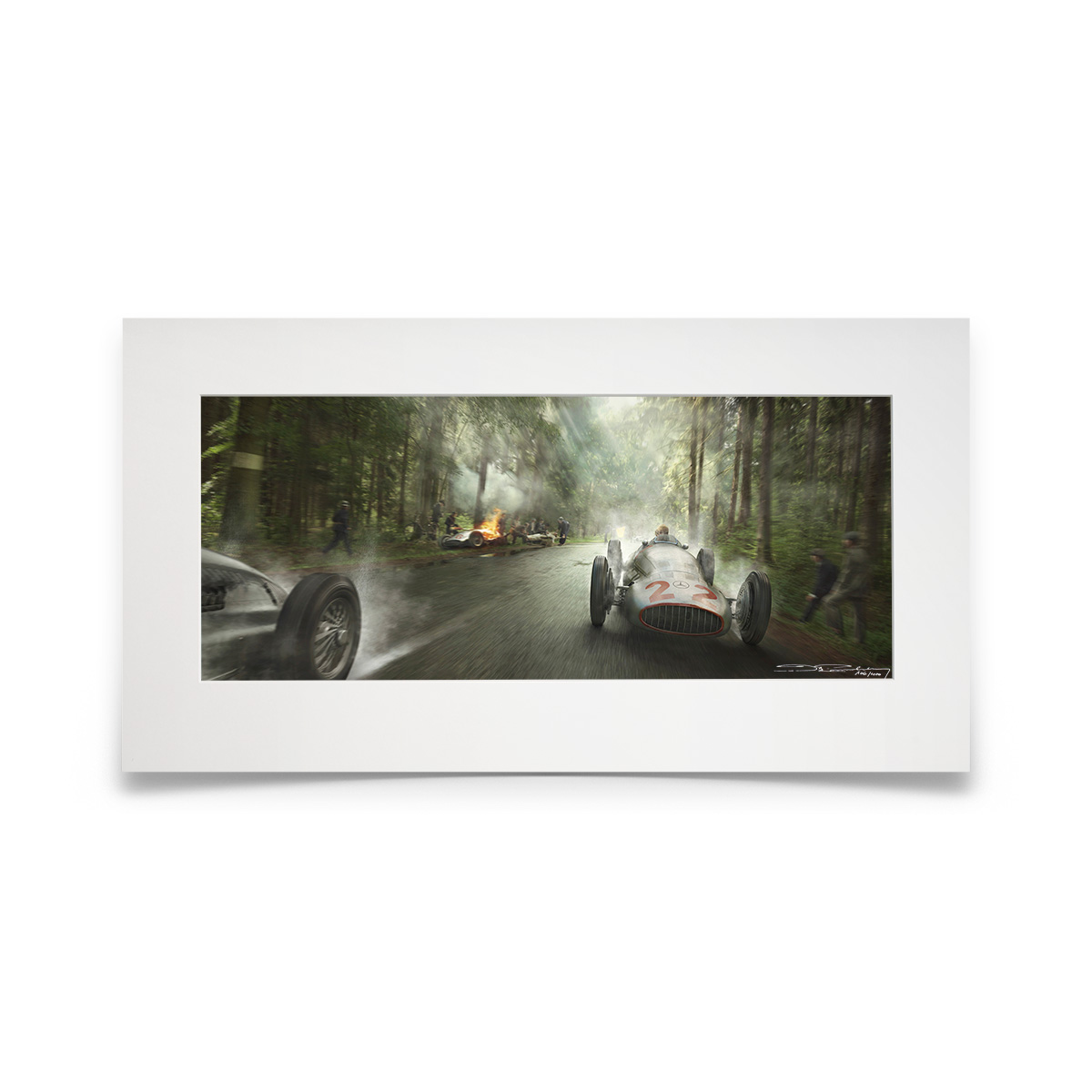 Product image for A Dampened Victory   Hermann Lang - Mercedes - 1939   Automobilist   Fine Art