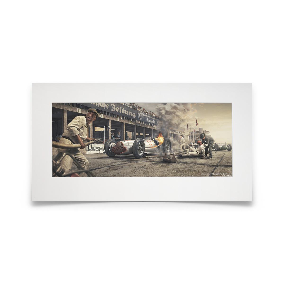 Product image for Burn And Crash   Manfred von Brauchitsch - Mercedes - 1938   Automobilist   Fine Art